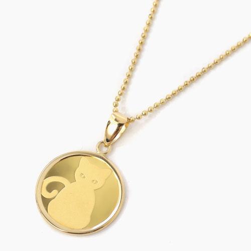 純金 24金  コイン 金貨 ネックレス キャット ネコの足跡 4236-HG20