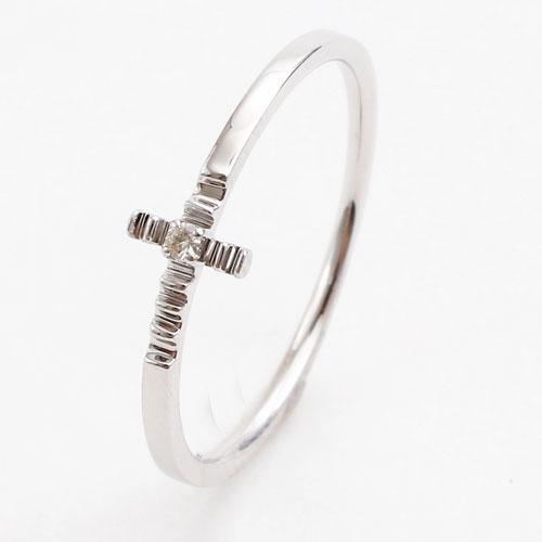 日本製 10金ホワイトゴールド リング K10WG ダイヤモンド クロス 5341-RG16