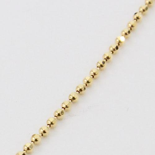【K18刻印入り】18金 ネックレス 8面カットボール チェーン 45cm フリーサイズ K18