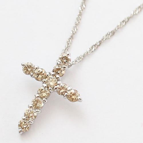 18金 ホワイトゴールド ネックレス ダイヤモンド 0.2ct クロス ペンダント 0178-PG08