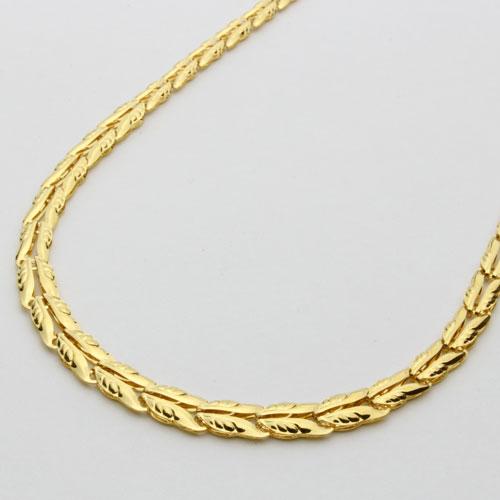 純金 ネックレス グラデーション リーフ リバーシブル 42cm 0180-NG08