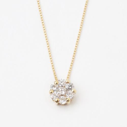 18金 K18 ダイヤモンド 0.3ct ペンダント アッキーセブンダイヤモンド ベネチアンチェーン ネックレス 0257-PG13