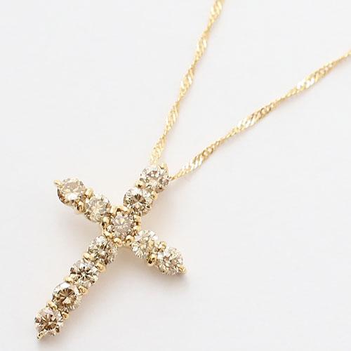18金 ダイヤモンド 0.5ct クロス ペンダント ライトブラウン スクリュー ネックレス 0281-PG08