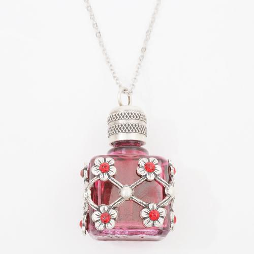 フランス製 ガラス 香水 フレグランスボトル ローズ・ピンク ペンダント 0362-PS08
