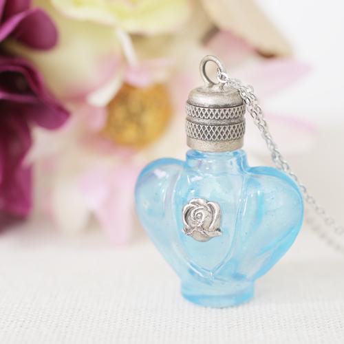 フランス製 ガラス 香水 フレグランスボトル ローズ・ブルー ペンダント 0375-PS08