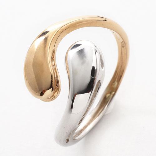 18金/K18 リング/指輪 ツーカラ― ホワイトゴールド ピンクゴールド フリーサイズ イタリア製 0417-RG15