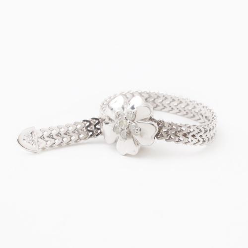18金/K18 リング/指輪 ダイヤモンド 0.05ct  ホワイトゴールド フリーサイズ スライド式 0418-RG08