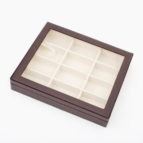 窓付き コレクションボックス ジュエリーケース  合皮 ブラウンベージュ  0444-JC13