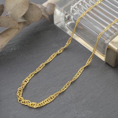 日本製 K24 純金 ネックレス 太めグラデーション スクリュー 0450-NG08