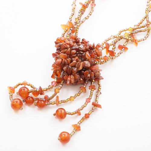 タイ製 天然石 ネックレス カラーストーン アジャスター付き 0465-NS08