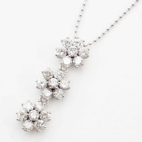 18金ホワイトゴールド トリロジーダイヤモンド 1ct ペンダント 0545-PP08