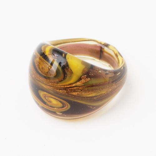 ベネチアンガラス リング 純金箔入り (ダーキッシュ) イタリア製 0560-PV08