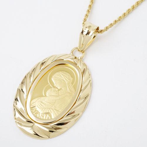 純金 オーバル コイン 2.5g ペンダント マリア 0625-PG08