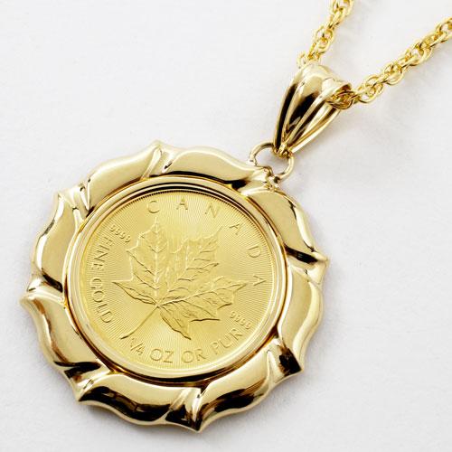 純金 メイプルリーフコイン 1/4オンス ペンダント K18枠 0647-PG13