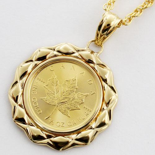 純金 メイプルリーフコイン 1/4オンス ペンダント K18枠 0660-PG13
