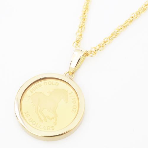 純金 18金 ホース  コイン ペンダント 両面ガラス入り 0673-PG08