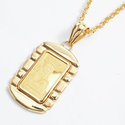 純金 2g インゴットペンダント リバティ 枠 18金 自由の女神 (999.9) 0678-PG09