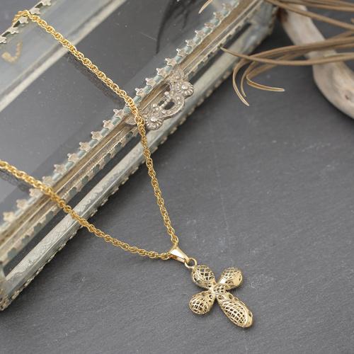 イタリア製 18金 750 クロス ペンダント 真鍮 縄編みチェーン付 0750-PG09