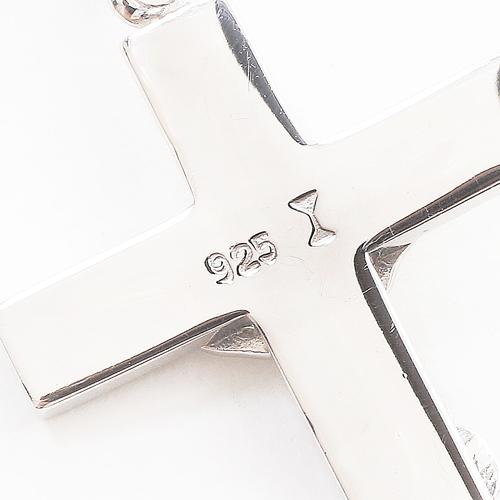 ドイツ製 シルバー925 ペンダント クロス/十字架 カットボールチェーン0773-PS08