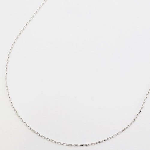 10金 ホワイトゴールド ネックレス 角アズキ チェーン 45cm 0876-NG09