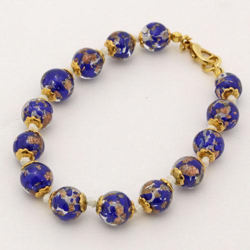 イタリア製 ベネチアンガラス ブレスレット(ブルー・オーロ) 0914-BB09