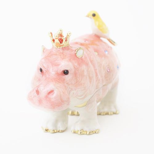 ミニジュエリーケース 宝石箱 カバと小鳥 ピンク 小物入れ 0958-JC13