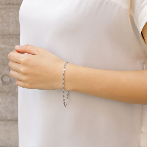 男女兼用 純プラチナ ブレスレット スクリューチェーン 20cm 1012-NG09