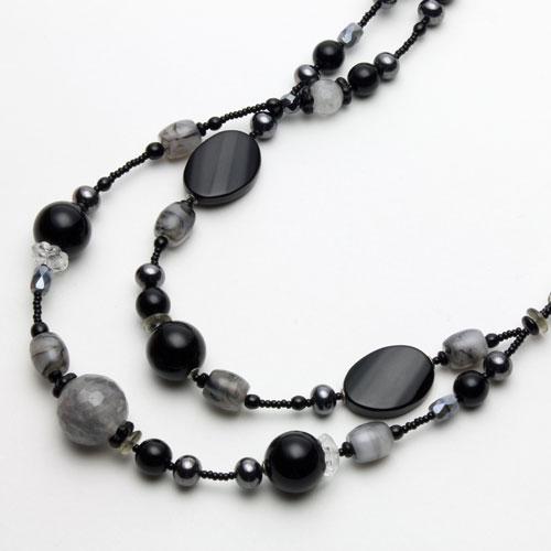 イタリア製 ベネチアンガラス ネックレス ブラック&グレー 2連 1096-NV13