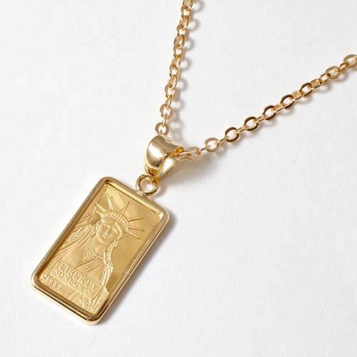純金 1g インゴットペンダント リバティ シンプル枠 自由の女神 (999.9) 1104-PG09