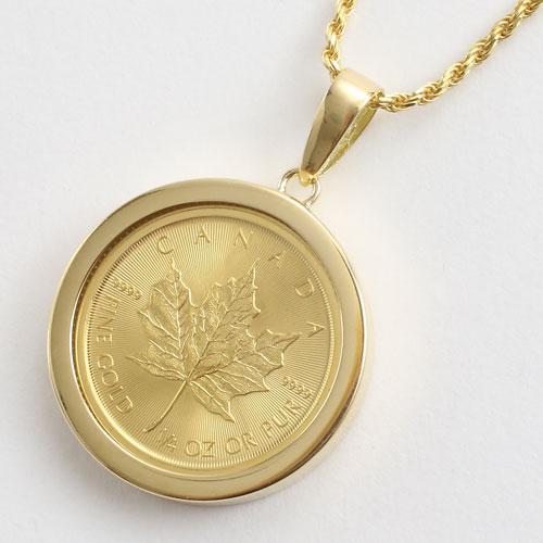 純金 メイプルリーフ 1/4 コイン 金貨 ペンダント 両面ガラス入り 1113-PG08