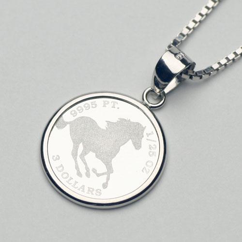 純プラチナ コイン ペンダント ホース 1/25オンス リバーシブル 1150-PG10