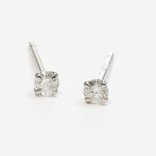 プラチナ ダイヤモンド ピアス 2石合計0.1カラット キャッチ式 1342-IG10