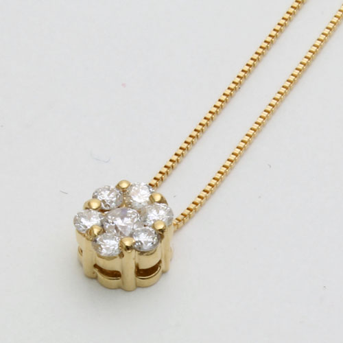 18金 ダイヤモンド ペンダント ラッキーセブン(7石合計0.2ct)ベネチアンチェーン 1355-PG13