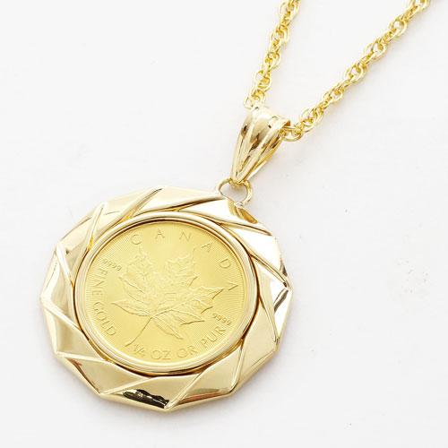 純金 コイン 金貨 1/4オンス メイプルリーフ 18金 K18枠 ペンダント チェーン付 1397-PG13