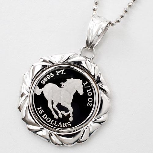 純プラチナ コイン 1/10オンス ホース(馬) ペンダント  Pt900 デザイン枠 1411-PP10