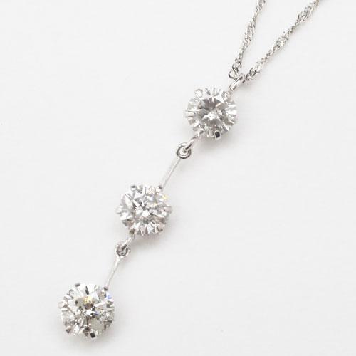 pt900 プラチナ pt850 ネックレス ペンダント スリーストーン ダイヤモンド スクリューチェーン 1452-PP10