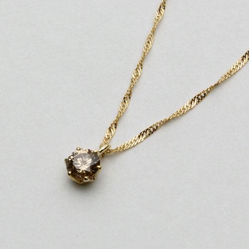18金 ネックレス ダイヤモンド 0.15ct ペンダント ライトブラウンカラー 1471-PG10