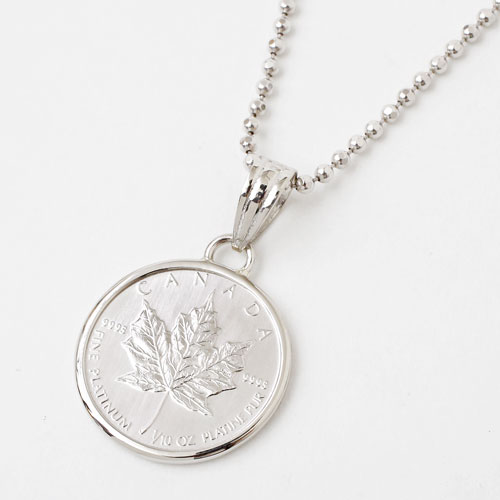 純pt メイプルリーフコイン 金貨 ペンダント 1/10オンスシンプル枠 1487-PG10