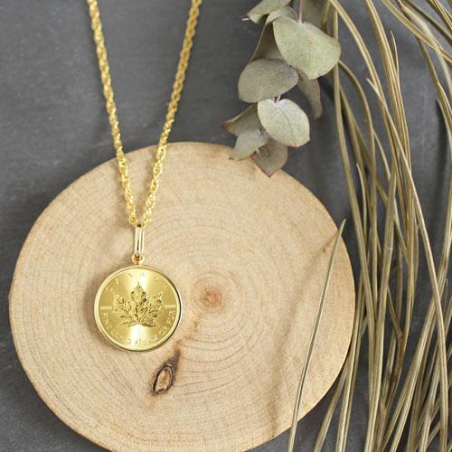 純金 メイプルリーフ 1/2 コイン 金貨 ペンダント 1548-PG10
