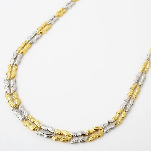 純金 純プラチナ コンビ ネックレス ラン グラデーション リバーシブル 1558-NP11