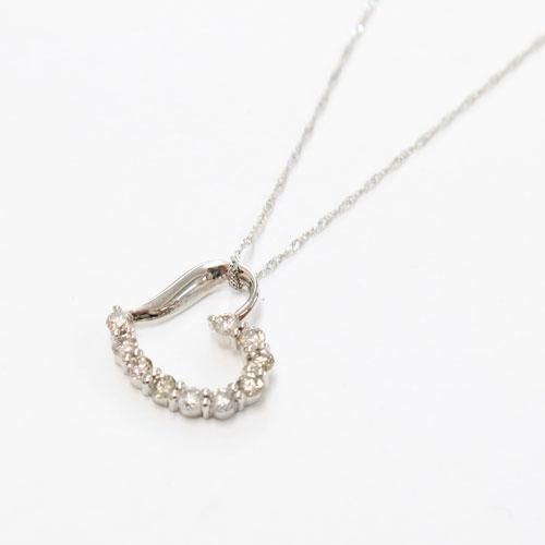 純プラチナ ダイヤモンド オープンハート ペンダント 0.5ct ノーブルテン 1636-PP11