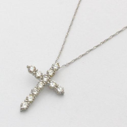 純プラチナ ダイヤモンド 1ct クロス ペンダント Pt850 スクリューチェーン 鑑別書付 1674-PG11