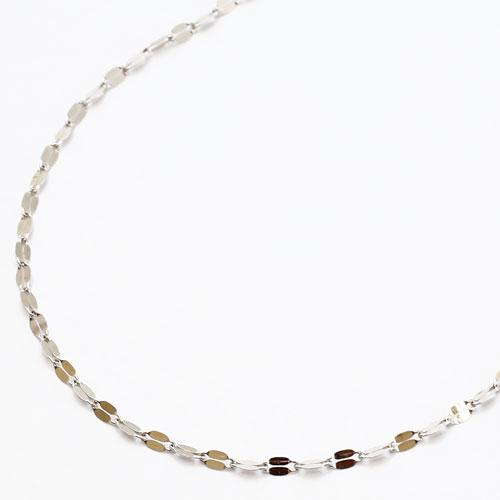 18金 K18WG ホワイトゴールド ネックレス ペダル チェーン 42cm 1680-NP11