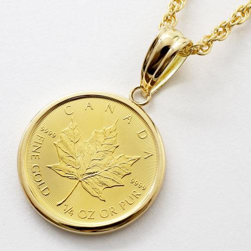 純金 コイン 1/4オンス メイプル リーフ ペンダント K18 フセコミ枠 1778-PG11