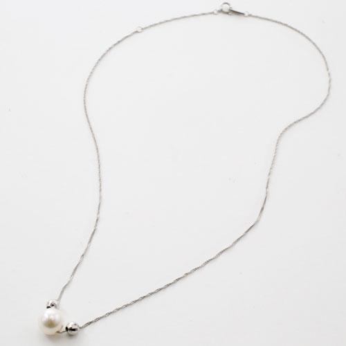 18金 ホワイトゴールド ネックレス ミラクルカット ミラーボール付 あこや真珠 ペンダント 1801-PG12