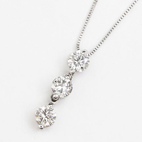 18金 18K K18WG ネックレス ペンダント スリーストーン ダイヤモンド ベネチアンチェーン 1858-PG12