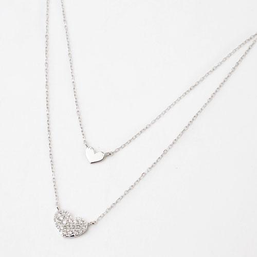 18金ホワイトゴールド ダイヤモンド ハート 2連 ペンダント アズキチェーン 1862-PG12