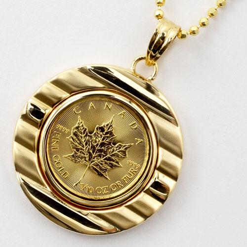 純金 メイプルリーフコイン 1/10オンス ペンダント K18枠 両面ガラス入り 1935-PG12