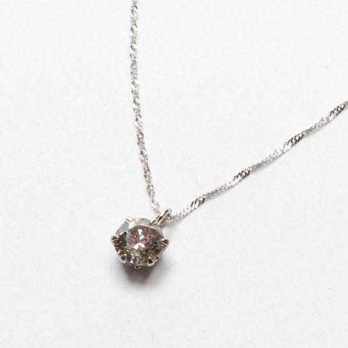 純プラチナ台 ダイヤモンド 0.4ct ペンダント Pt850 スクリューチェーン ネックレス 2034-PP13