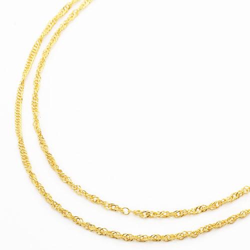 純金 24金 異寸2連 42cm 43cm ネックレス きらめきスクリュー 2060-NP13